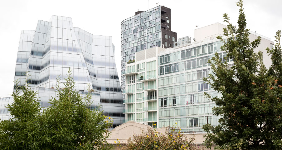 View of Frank Gehry's IAC building and Jean Nouvel's 100 West 11th from the High Line