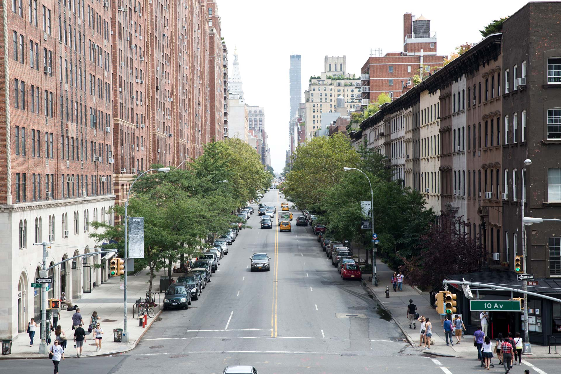 View down 23rd Street from the High Line