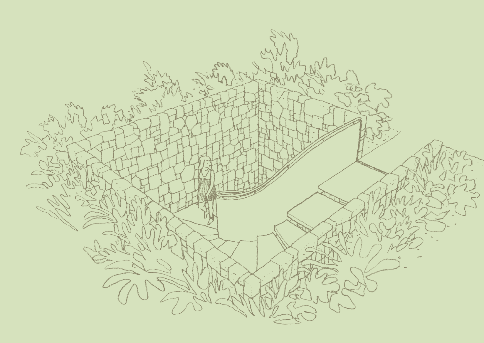 Second Level Garden Staircase, Architect's Sketch